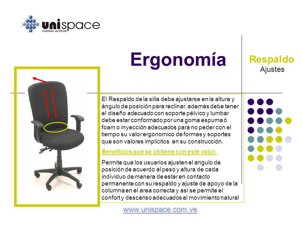 Ergonomía Ajustes Respaldo El Respaldo de la silla debe ajustarse en la altura y ángulo de posición para reclinar, además debe tener el diseño adecuad