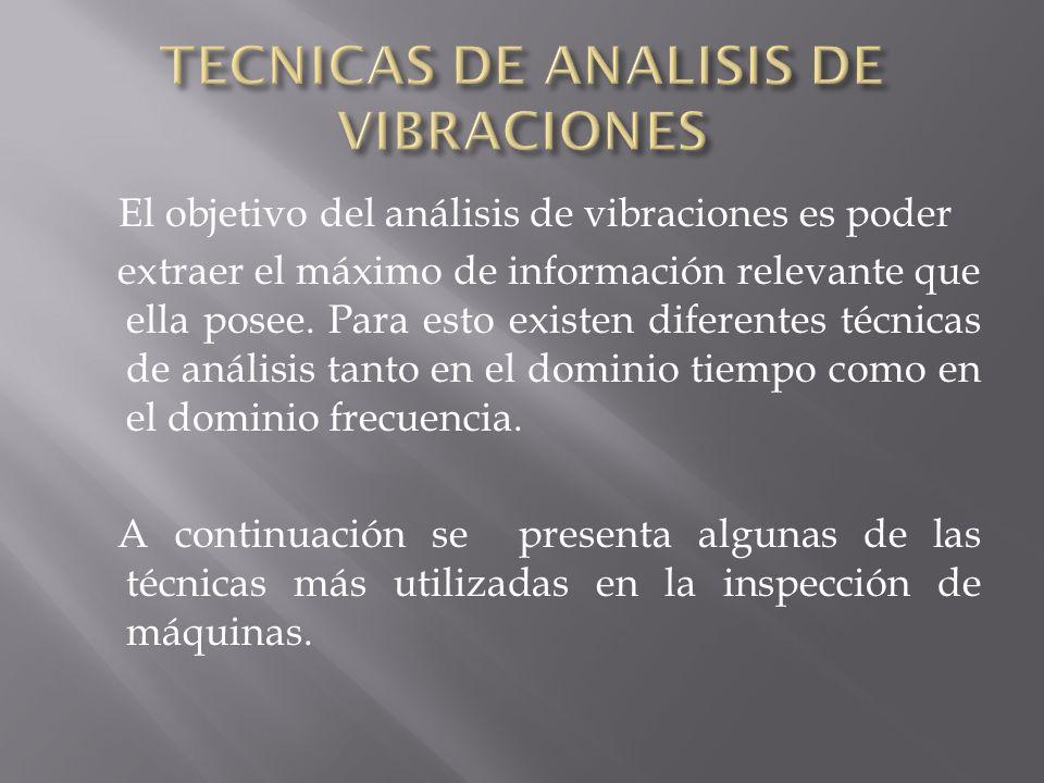 El objetivo del análisis de vibraciones es poder extraer el máximo de información relevante que ella posee. Para esto existen diferentes técnicas de a