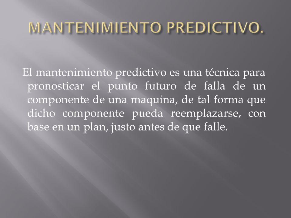 El mantenimiento predictivo es una técnica para pronosticar el punto futuro de falla de un componente de una maquina, de tal forma que dicho component