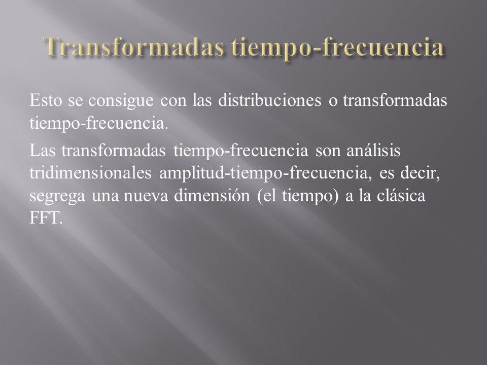 Esto se consigue con las distribuciones o transformadas tiempo-frecuencia. Las transformadas tiempo-frecuencia son análisis tridimensionales amplitud-