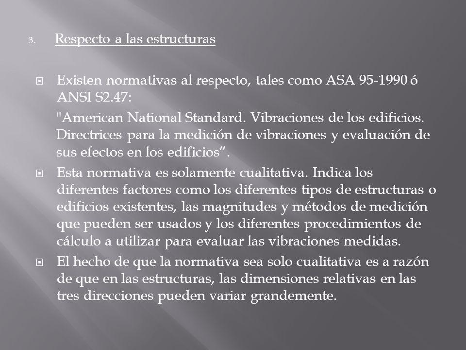 3. Respecto a las estructuras Existen normativas al respecto, tales como ASA 95-1990 ó ANSI S2.47: