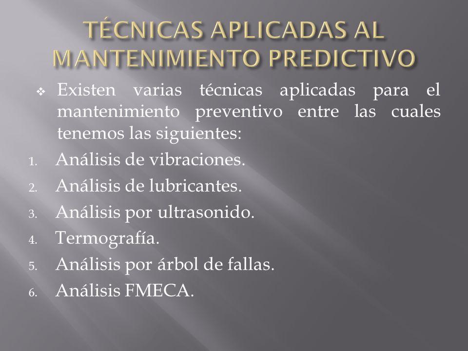 Existen varias técnicas aplicadas para el mantenimiento preventivo entre las cuales tenemos las siguientes: 1. Análisis de vibraciones. 2. Análisis de