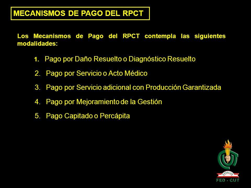 Los Mecanismos de Pago del RPCT contempla las siguientes modalidades: 1. Pago por Daño Resuelto o Diagnóstico Resuelto 2. Pago por Servicio o Acto Méd