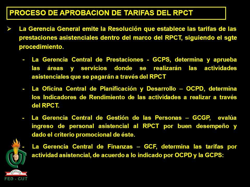 PROCESO DE APROBACION DE TARIFAS DEL RPCT La Gerencia General emite la Resolución que establece las tarifas de las prestaciones asistenciales dentro d