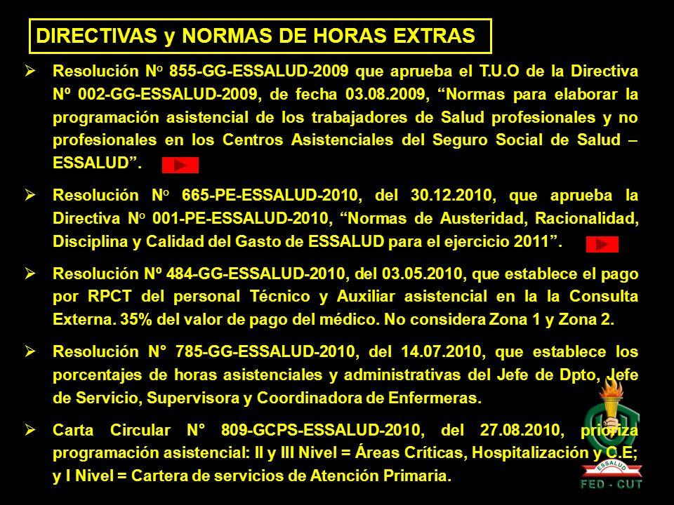 DIRECTIVAS y NORMAS DE HORAS EXTRAS Resolución N° 855-GG-ESSALUD-2009 que aprueba el T.U.O de la Directiva Nº 002-GG-ESSALUD-2009, de fecha 03.08.2009