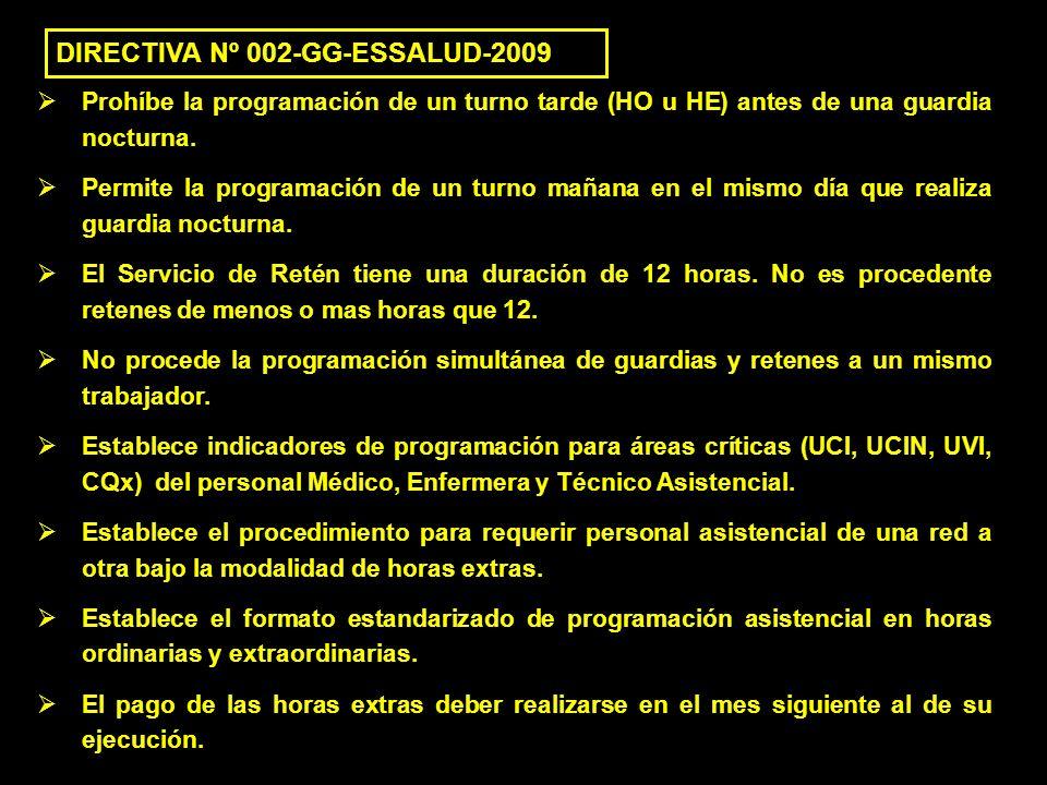 DIRECTIVA Nº 002-GG-ESSALUD-2009 Prohíbe la programación de un turno tarde (HO u HE) antes de una guardia nocturna. Permite la programación de un turn