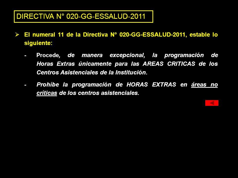 DIRECTIVA N° 020-GG-ESSALUD-2011 El numeral 11 de la Directiva N° 020-GG-ESSALUD-2011, estable lo siguiente: - Procede, de manera excepcional, la prog