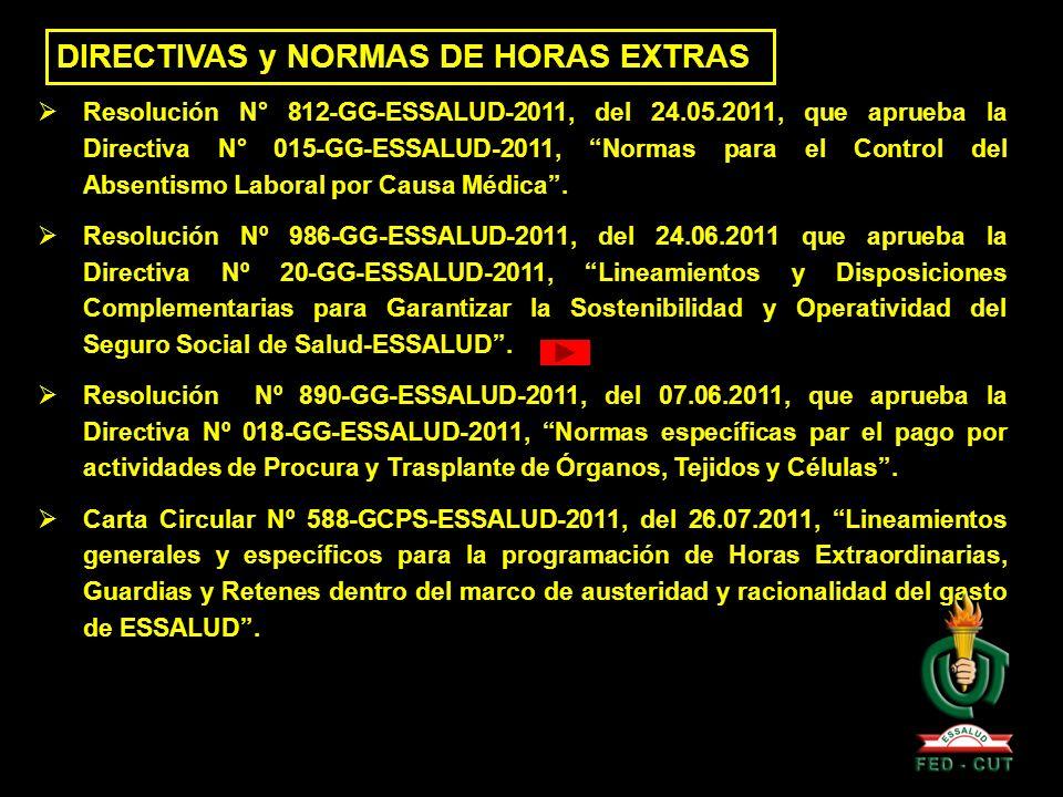 DIRECTIVAS y NORMAS DEL RPCT Mediante Decreto Supremo N° 011-2009-TR, se aprueba el Régimen de Prestaciones Complementarias de Trabajo - RPCT, para el personal asistencial de ESSALUD.