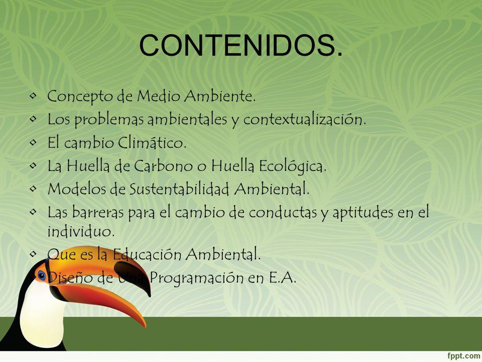 Concepto de Medio Ambiente. Los problemas ambientales y contextualización. El cambio Climático. La Huella de Carbono o Huella Ecológica. Modelos de Su