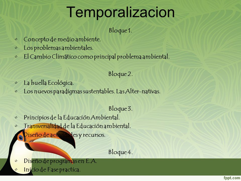 Temporalizacion Bloque 1. Concepto de medio ambiente. Los problemas ambientales. El Cambio Climático como principal problema ambiental. Bloque 2. La h