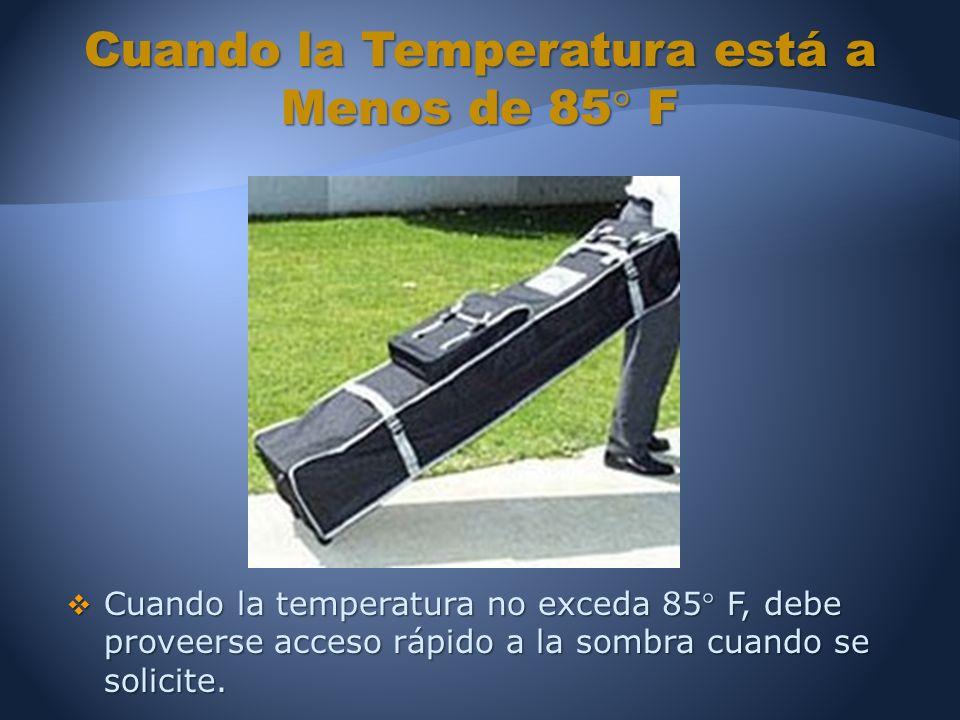 Cuando la temperatura no exceda 85 F, debe proveerse acceso rápido a la sombra cuando se solicite.