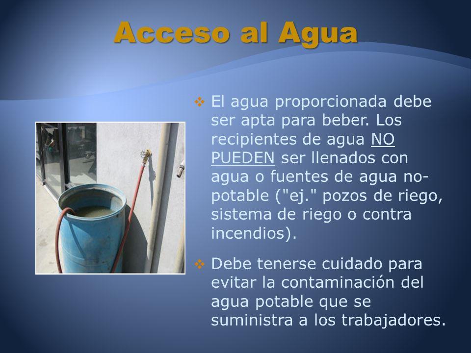 El agua proporcionada debe ser apta para beber.