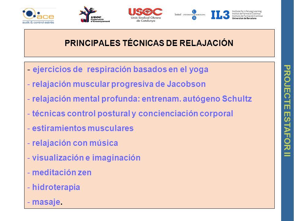 PROJECTE ESTAFOR II PRINCIPALES TÉCNICAS DE RELAJACIÓN - ejercicios de respiración basados en el yoga - relajación muscular progresiva de Jacobson - r