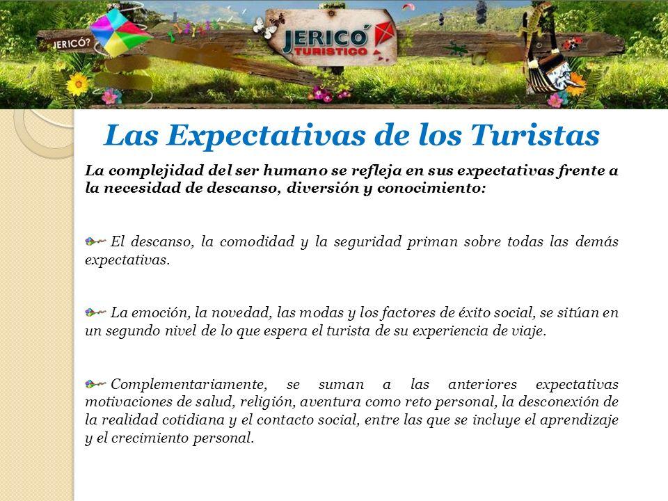 Las Expectativas de los Turistas La complejidad del ser humano se refleja en sus expectativas frente a la necesidad de descanso, diversión y conocimie