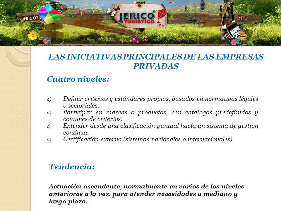 LAS INICIATIVAS PRINCIPALES DE LAS EMPRESAS PRIVADAS Cuatro niveles: a) Definir criterios y estándares propios, basados en normativas légales o sector