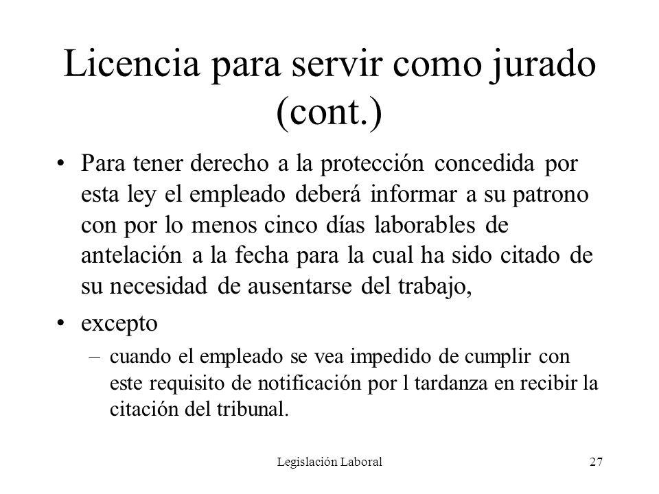 Legislación Laboral27 Licencia para servir como jurado (cont.) Para tener derecho a la protección concedida por esta ley el empleado deberá informar a
