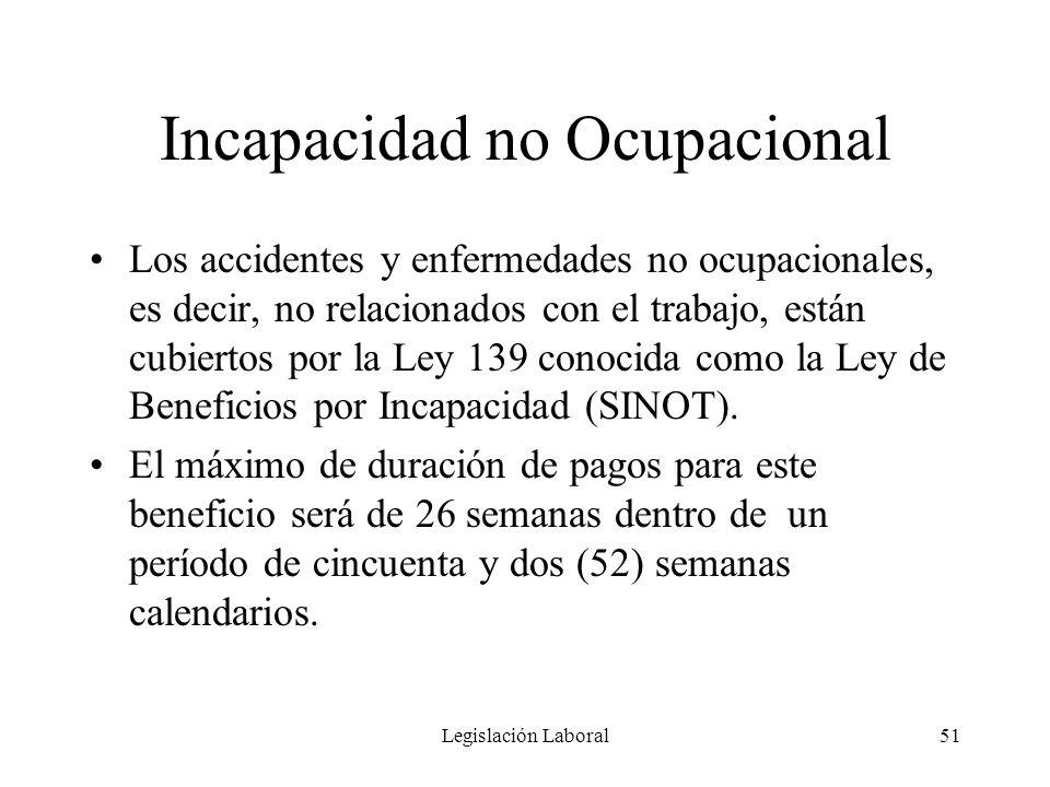 Legislación Laboral51 Incapacidad no Ocupacional Los accidentes y enfermedades no ocupacionales, es decir, no relacionados con el trabajo, están cubie
