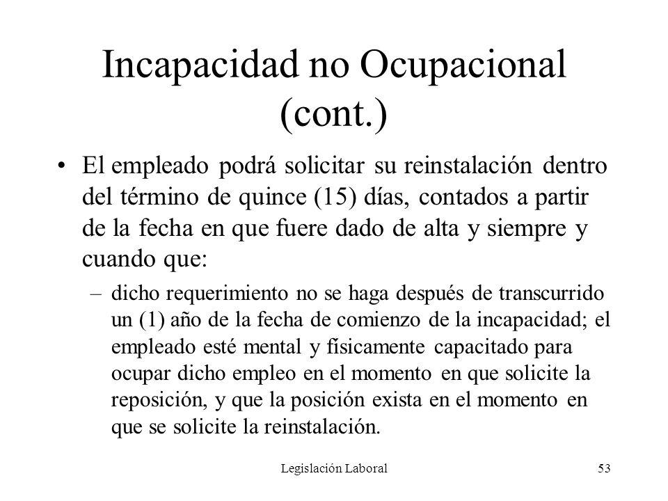 Legislación Laboral53 Incapacidad no Ocupacional (cont.) El empleado podrá solicitar su reinstalación dentro del término de quince (15) días, contados