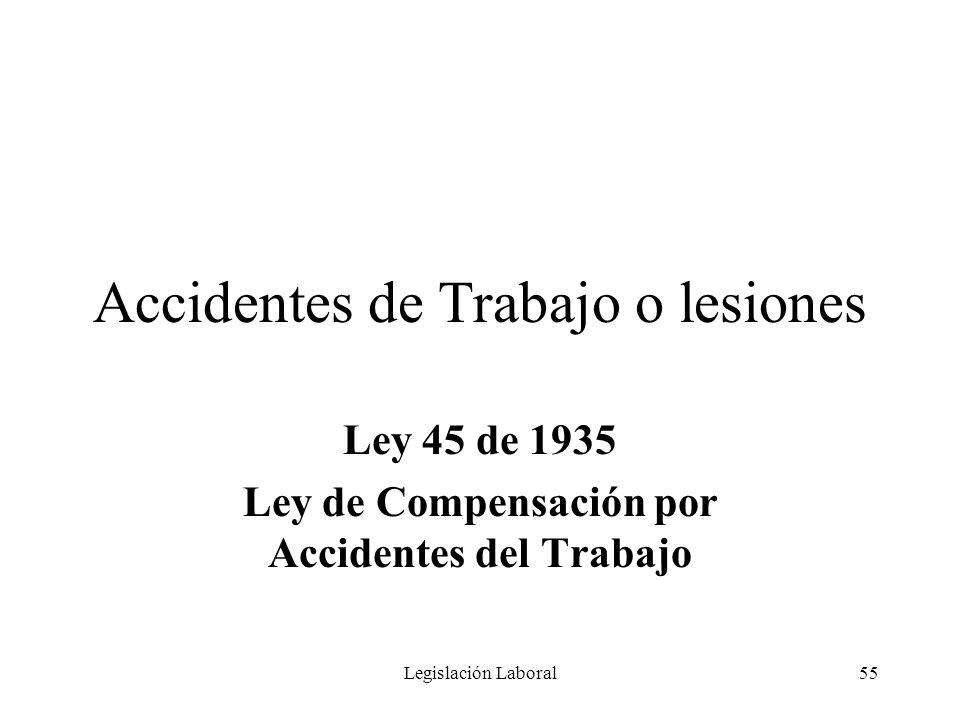 Legislación Laboral55 Accidentes de Trabajo o lesiones Ley 45 de 1935 Ley de Compensación por Accidentes del Trabajo