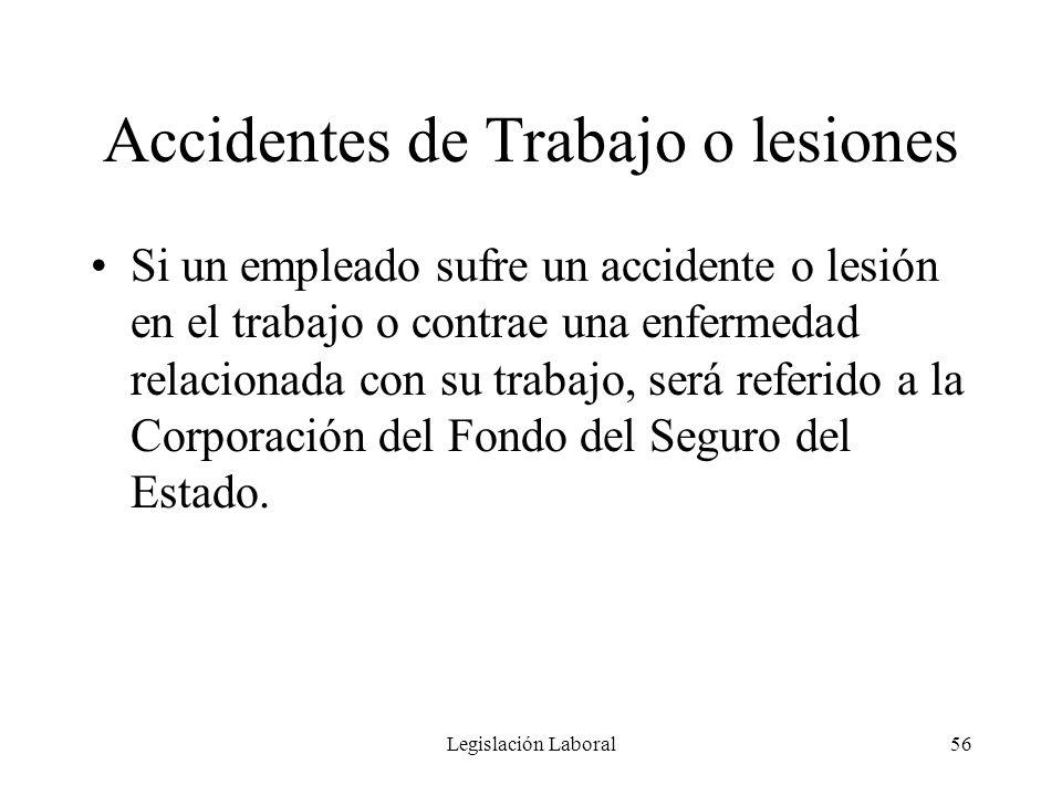 Legislación Laboral56 Accidentes de Trabajo o lesiones Si un empleado sufre un accidente o lesión en el trabajo o contrae una enfermedad relacionada c