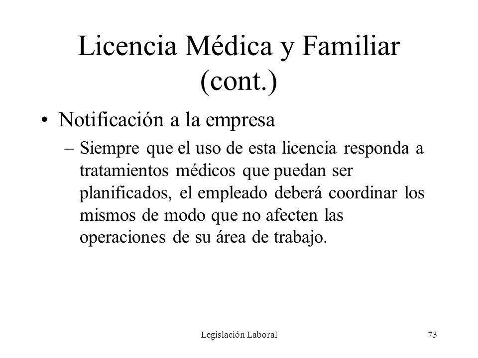 Legislación Laboral73 Licencia Médica y Familiar (cont.) Notificación a la empresa –Siempre que el uso de esta licencia responda a tratamientos médico