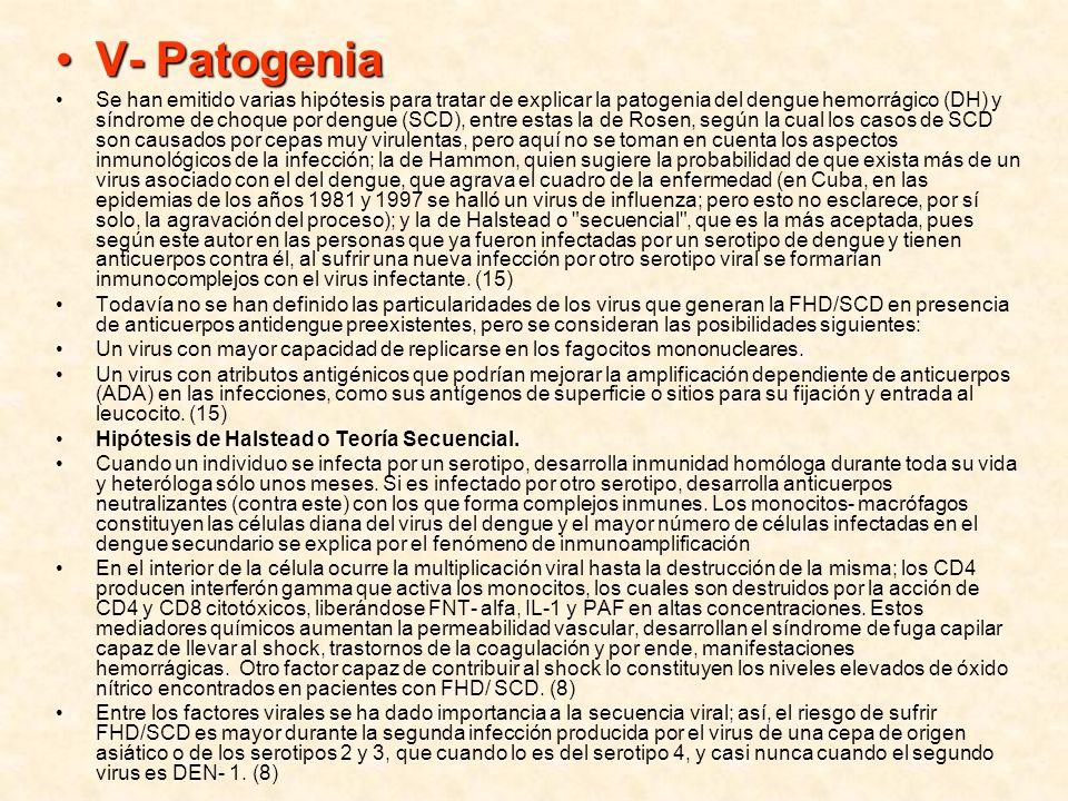 V- PatogeniaV- Patogenia Se han emitido varias hipótesis para tratar de explicar la patogenia del dengue hemorrágico (DH) y síndrome de choque por den