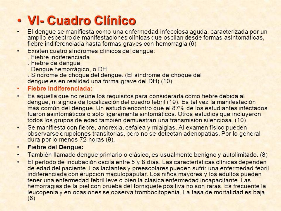 VI- Cuadro ClínicoVI- Cuadro Clínico El dengue se manifiesta como una enfermedad infecciosa aguda, caracterizada por un amplio espectro de manifestaci
