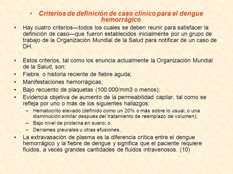 Criterios de definición de caso clínico para el dengue hemorrágico Hay cuatro criteriostodos los cuales se deben reunir para satisfacer la definición
