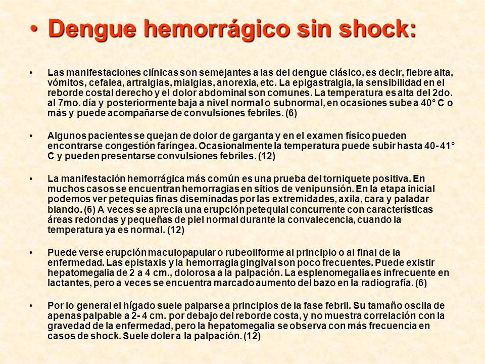 Dengue hemorrágico sin shock:Dengue hemorrágico sin shock: Las manifestaciones clínicas son semejantes a las del dengue clásico, es decir, fiebre alta