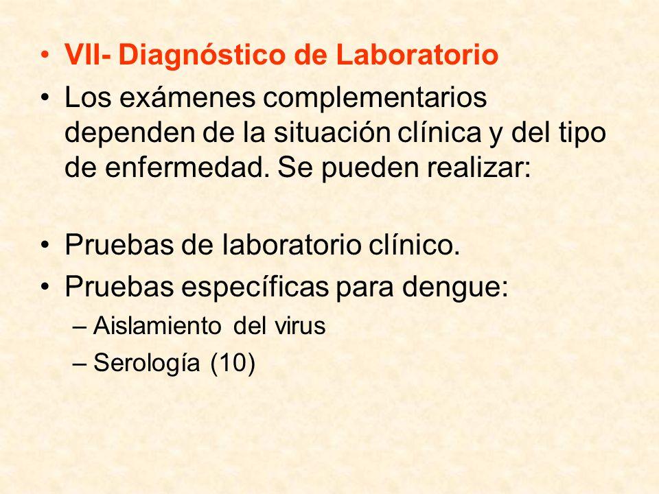 VII- Diagnóstico de Laboratorio Los exámenes complementarios dependen de la situación clínica y del tipo de enfermedad. Se pueden realizar: Pruebas de