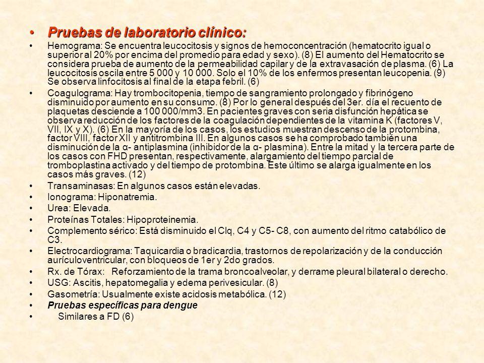 Pruebas de laboratorio clínico:Pruebas de laboratorio clínico: Hemograma: Se encuentra leucocitosis y signos de hemoconcentración (hematocrito igual o