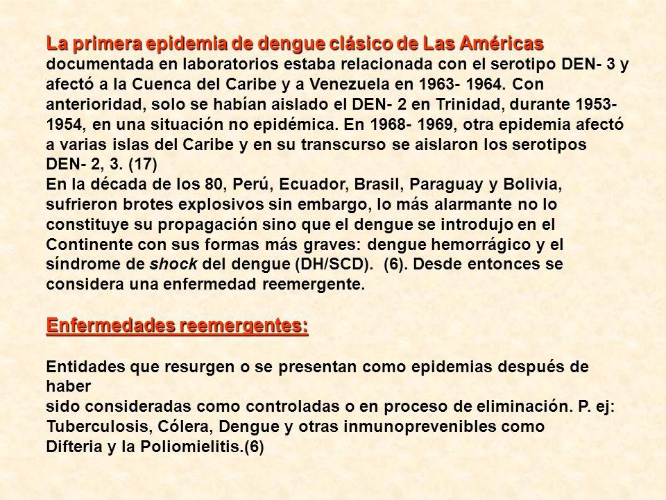La primera epidemia de dengue clásico de Las Américas La primera epidemia de dengue clásico de Las Américas documentada en laboratorios estaba relacio