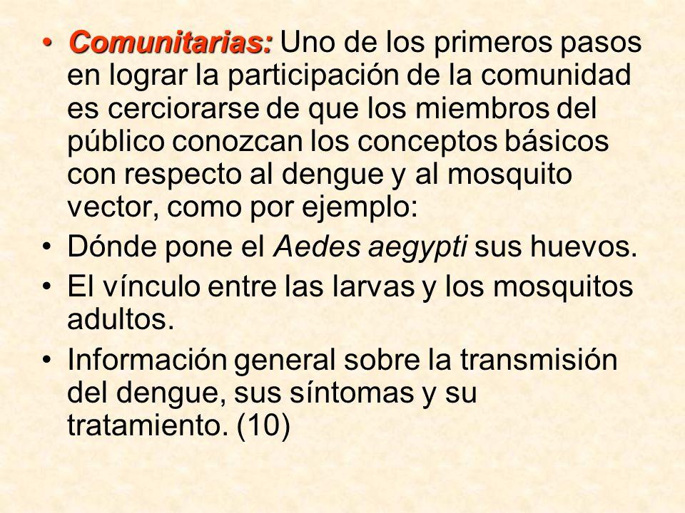 Comunitarias:Comunitarias: Uno de los primeros pasos en lograr la participación de la comunidad es cerciorarse de que los miembros del público conozca