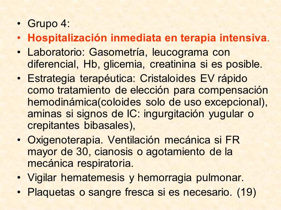 Grupo 4: Hospitalización inmediata en terapia intensiva. Laboratorio: Gasometría, leucograma con diferencial, Hb, glicemia, creatinina si es posible.