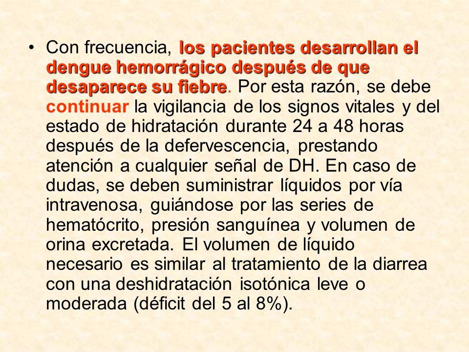 los pacientes desarrollan el dengue hemorrágico después de que desaparece su fiebreCon frecuencia, los pacientes desarrollan el dengue hemorrágico des