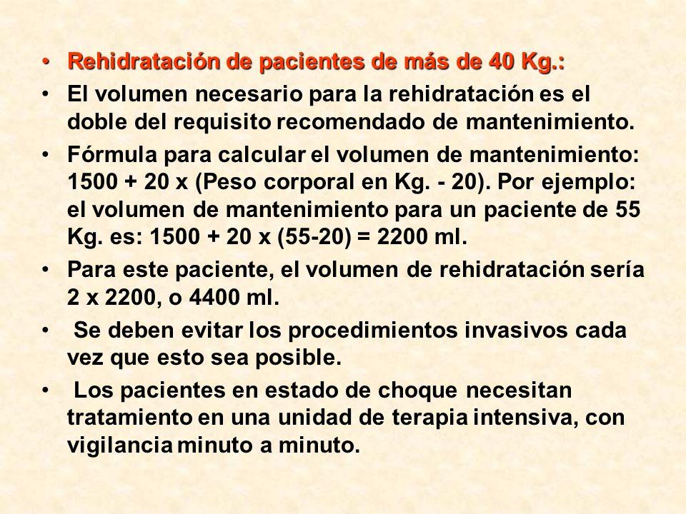 Rehidratación de pacientes de más de 40 Kg.:Rehidratación de pacientes de más de 40 Kg.: El volumen necesario para la rehidratación es el doble del re