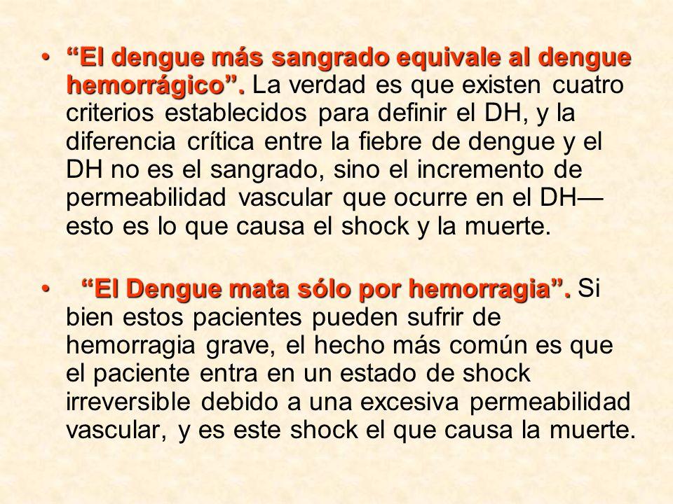 El dengue más sangrado equivale al dengue hemorrágico.El dengue más sangrado equivale al dengue hemorrágico. La verdad es que existen cuatro criterios