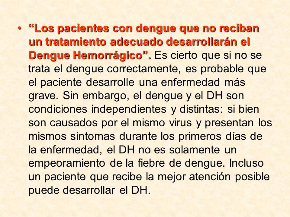 Los pacientes con dengue que no reciban un tratamiento adecuado desarrollarán el Dengue Hemorrágico.Los pacientes con dengue que no reciban un tratami
