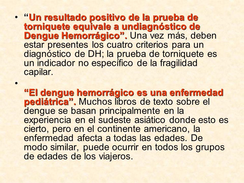 Un resultado positivo de la prueba de torniquete equivale a undiagnóstico de Dengue Hemorrágico.Un resultado positivo de la prueba de torniquete equiv