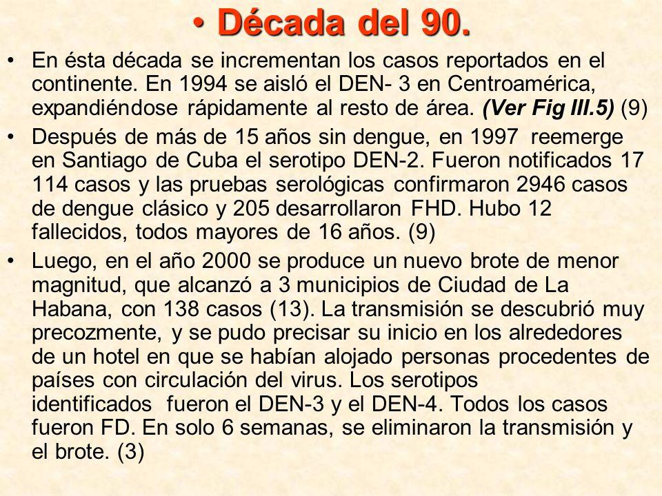 En el año 2001 la infestación por Aedes aegypti aumentó de manera importante en varias ciudades de nuestro país, circulando el serotipo DEN-3.