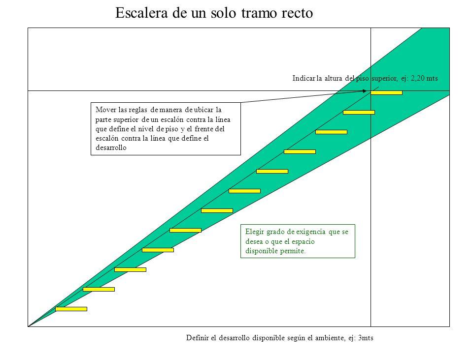 Definir el desarrollo disponible según el ambiente, ej: 3mts Indicar la altura del piso superior, ej: 2,20 mts Escalera de un solo tramo recto Mover l
