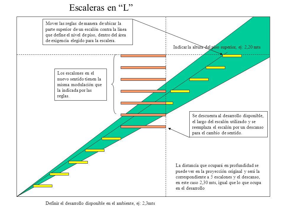 Escaleras en L La distancia que ocupará en profundidad se puede ver en la proyección original y será la correspondiente a 5 escalones y el descanso, e