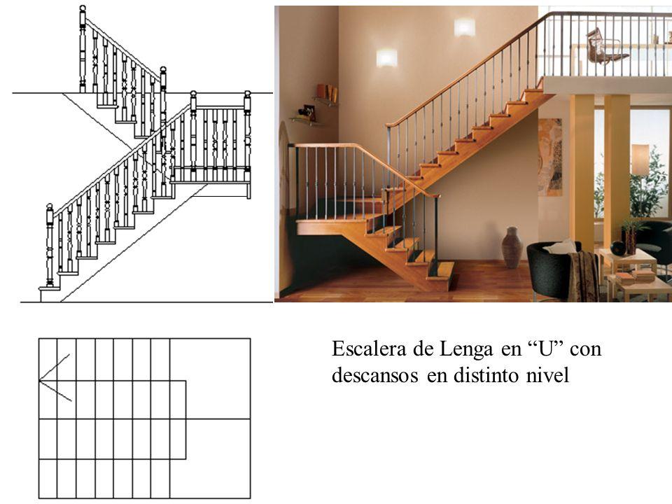 Escalera de Lenga en U con descansos en distinto nivel