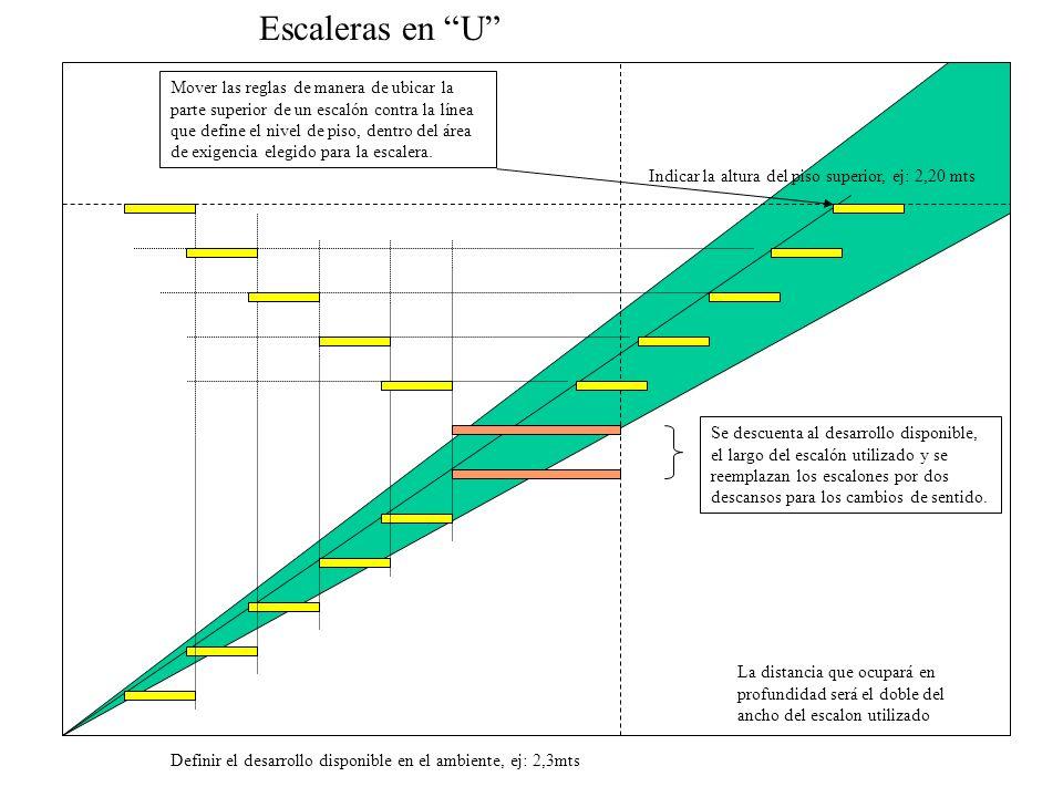 Escaleras en U La distancia que ocupará en profundidad será el doble del ancho del escalon utilizado Mover las reglas de manera de ubicar la parte sup