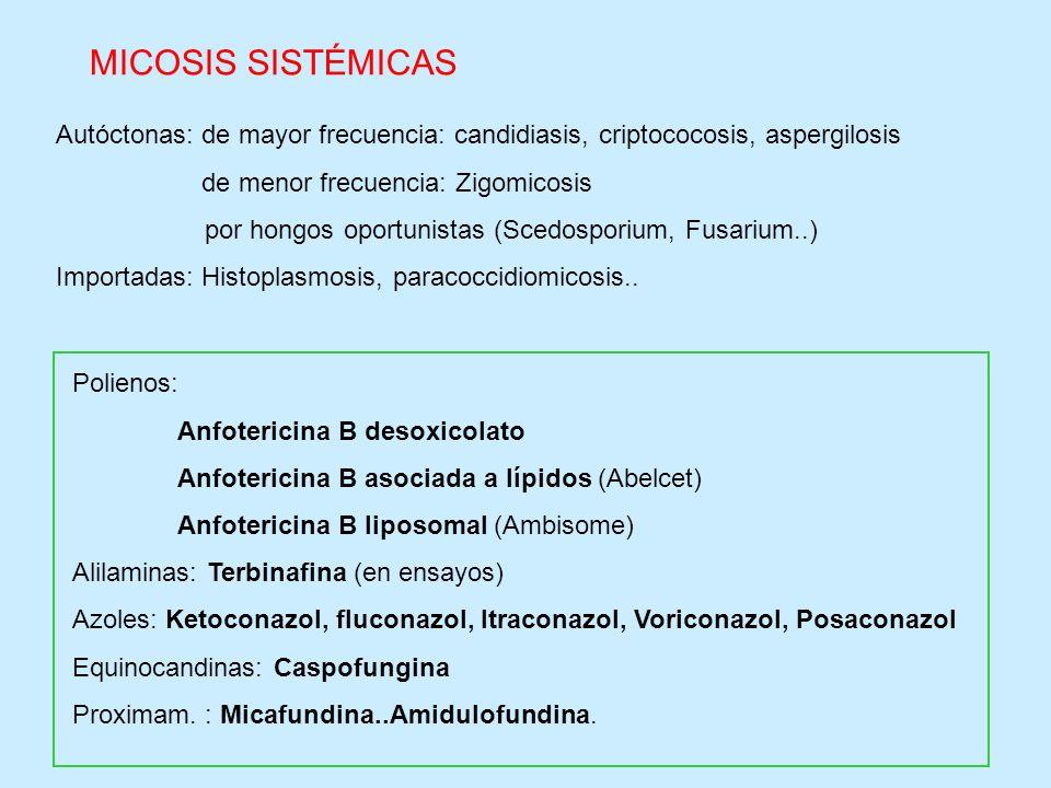 Autóctonas: de mayor frecuencia: candidiasis, criptococosis, aspergilosis de menor frecuencia: Zigomicosis por hongos oportunistas (Scedosporium, Fusa
