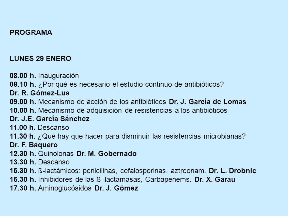 PROGRAMA LUNES 29 ENERO 08.00 h. Inauguración 08.10 h. ¿Por qué es necesario el estudio continuo de antibióticos? Dr. R. Gómez-Lus 09.00 h. Mecanismo