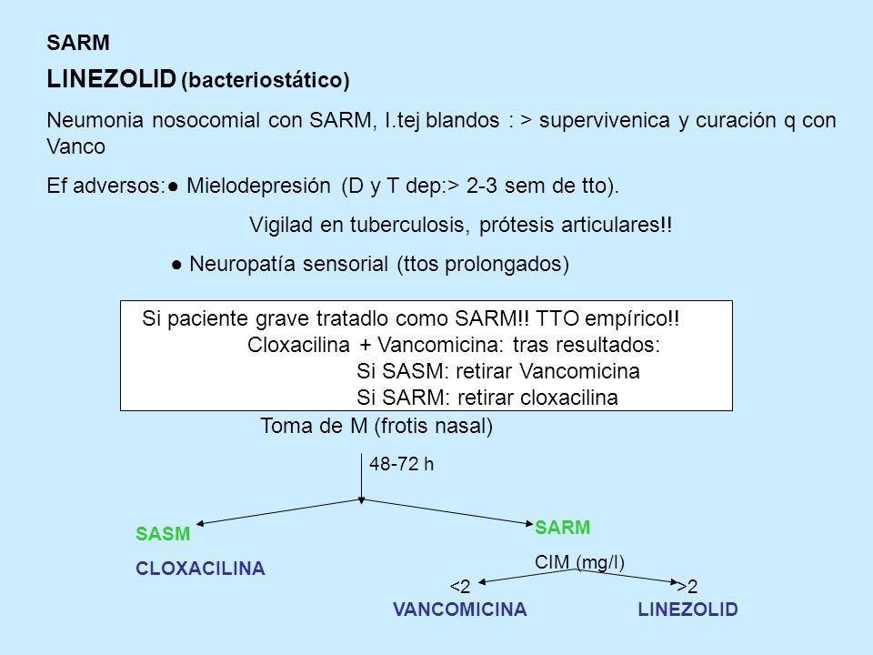 SARM LINEZOLID (bacteriostático) Neumonia nosocomial con SARM, I.tej blandos : > supervivenica y curación q con Vanco Ef adversos: Mielodepresión (D y