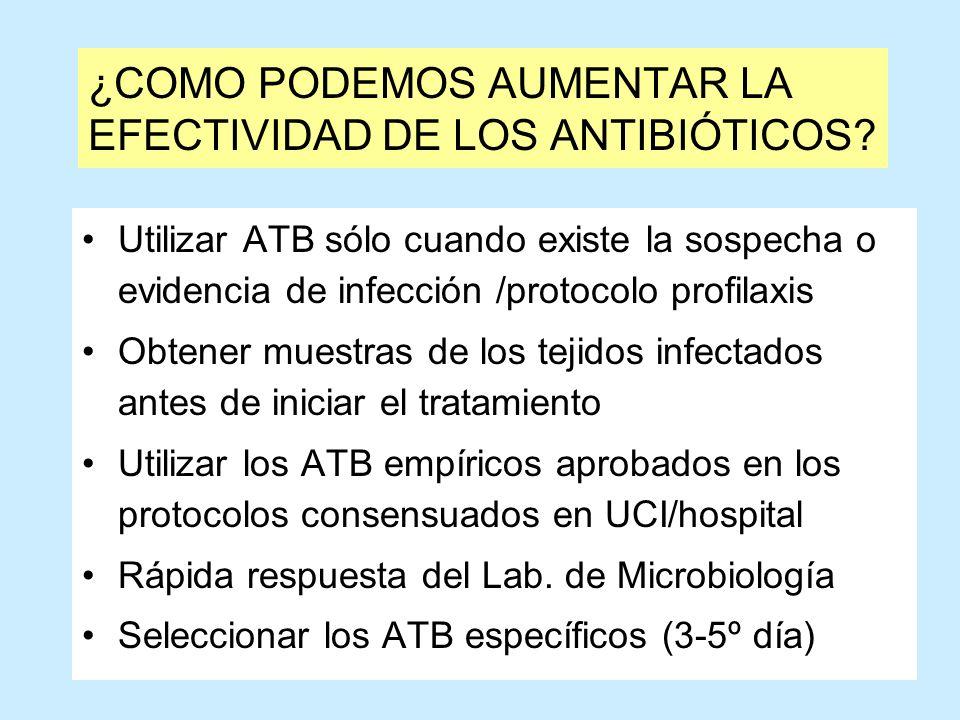 ¿COMO PODEMOS AUMENTAR LA EFECTIVIDAD DE LOS ANTIBIÓTICOS? Utilizar ATB sólo cuando existe la sospecha o evidencia de infección /protocolo profilaxis