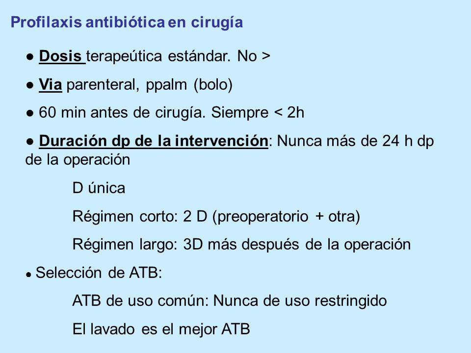 Profilaxis antibiótica en cirugía Dosis terapeútica estándar. No > Via parenteral, ppalm (bolo) 60 min antes de cirugía. Siempre < 2h Duración dp de l
