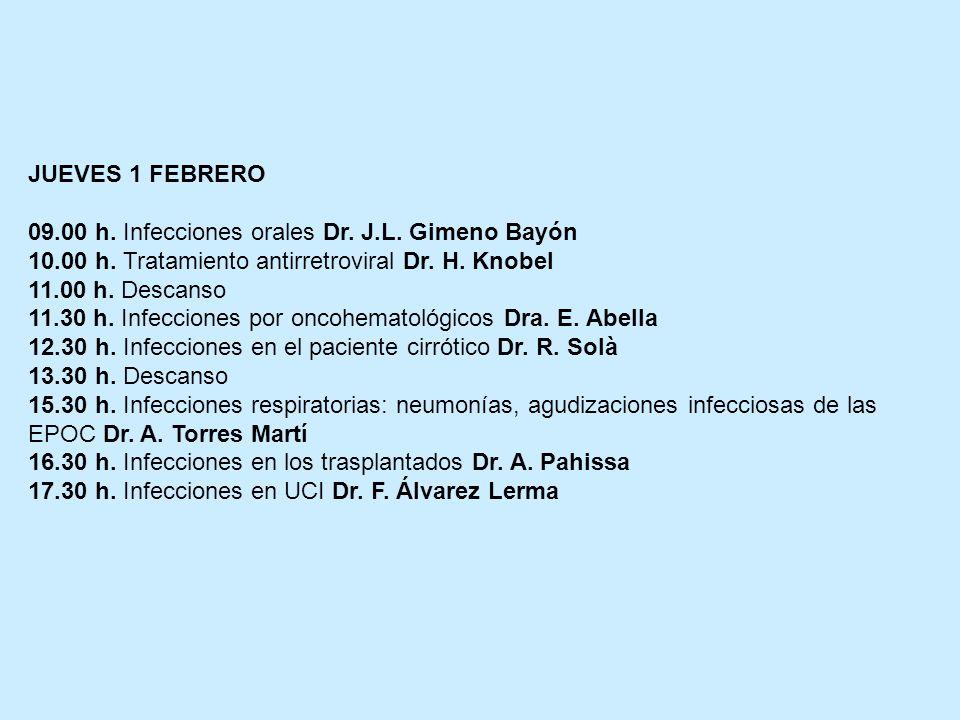 JUEVES 1 FEBRERO 09.00 h. Infecciones orales Dr. J.L. Gimeno Bayón 10.00 h. Tratamiento antirretroviral Dr. H. Knobel 11.00 h. Descanso 11.30 h. Infec